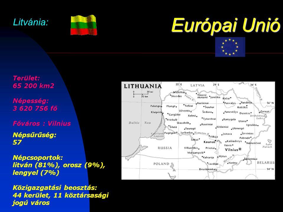Európai Unió Litvánia: Terület: 65 200 km2 Népesség: 3 620 756 fő Főváros : Vilnius Népsűrűség: 57 Népcsoportok: litván (81%), orosz (9%), lengyel (7%) Közigazgatási beosztás: 44 kerület, 11 köztársasági jogú város