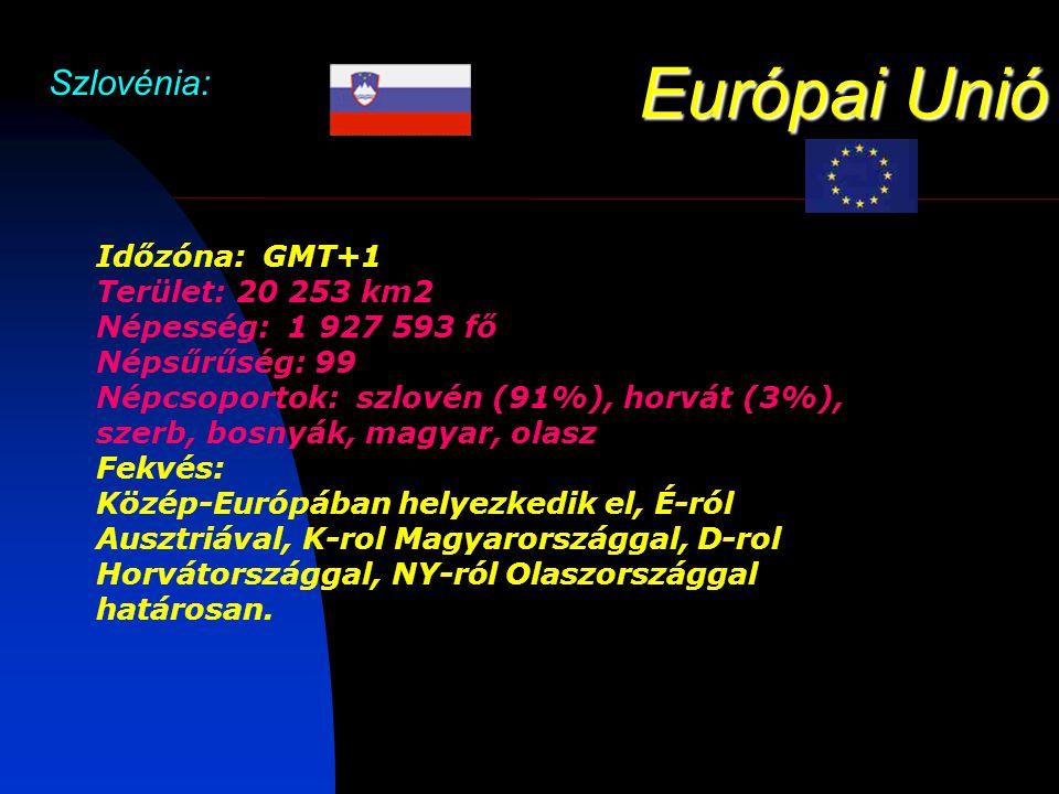 Európai Unió Szlovénia: Időzóna: GMT+1 Terület: 20 253 km2 Népesség: 1 927 593 fő Népsűrűség: 99 Népcsoportok: szlovén (91%), horvát (3%), szerb, bosnyák, magyar, olasz Fekvés: Közép-Európában helyezkedik el, É-ról Ausztriával, K-rol Magyarországgal, D-rol Horvátországgal, NY-ról Olaszországgal határosan.