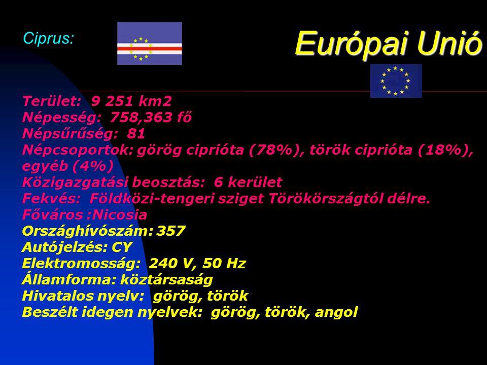 Európai Unió Ciprus: Terület: 9 251 km2 Népesség: 758,363 fő Népsűrűség: 81 Népcsoportok: görög ciprióta (78%), török ciprióta (18%), egyéb (4%) Közigazgatási beosztás: 6 kerület Fekvés: Földközi-tengeri sziget Törökörszágtól délre.