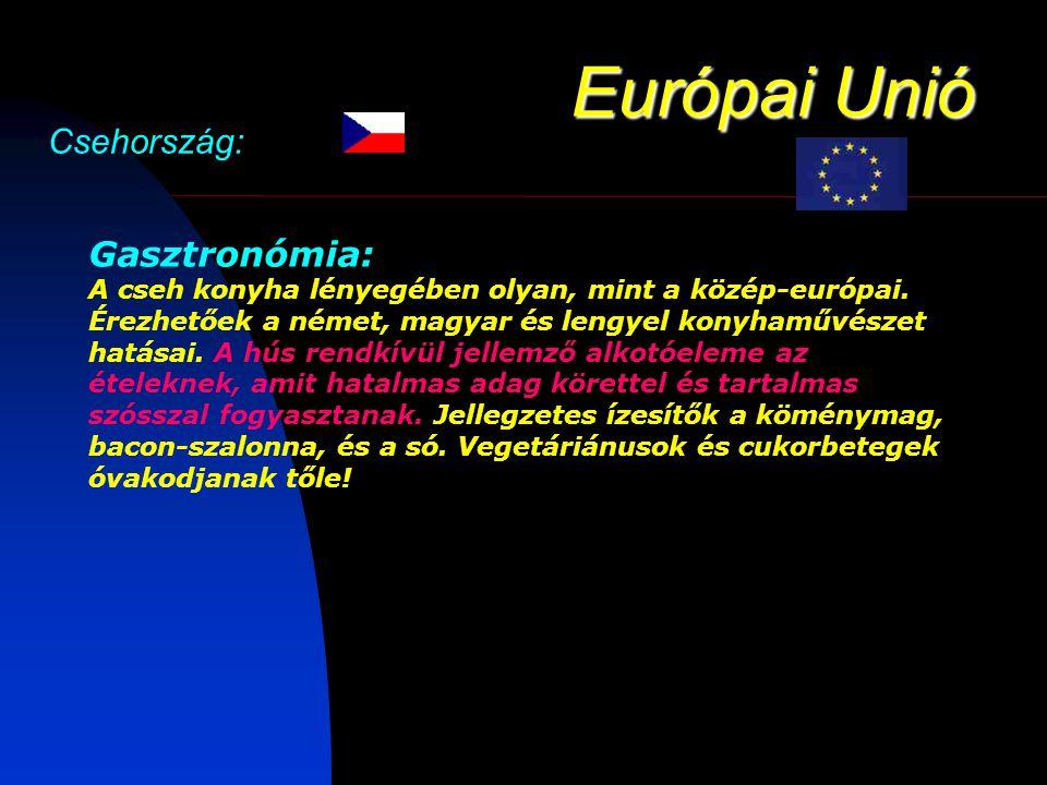 Európai Unió Csehország: Gasztronómia: A cseh konyha lényegében olyan, mint a közép-európai.