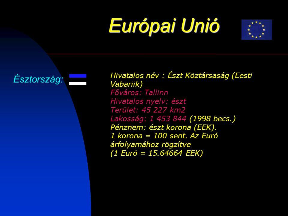 Európai Unió Észtország: Hivatalos név : Észt Köztársaság (Eesti Vabariik) Főváros: Tallinn Hivatalos nyelv: észt Terület: 45 227 km2 Lakosság: 1 453 844 (1998 becs.) Pénznem: észt korona (EEK).