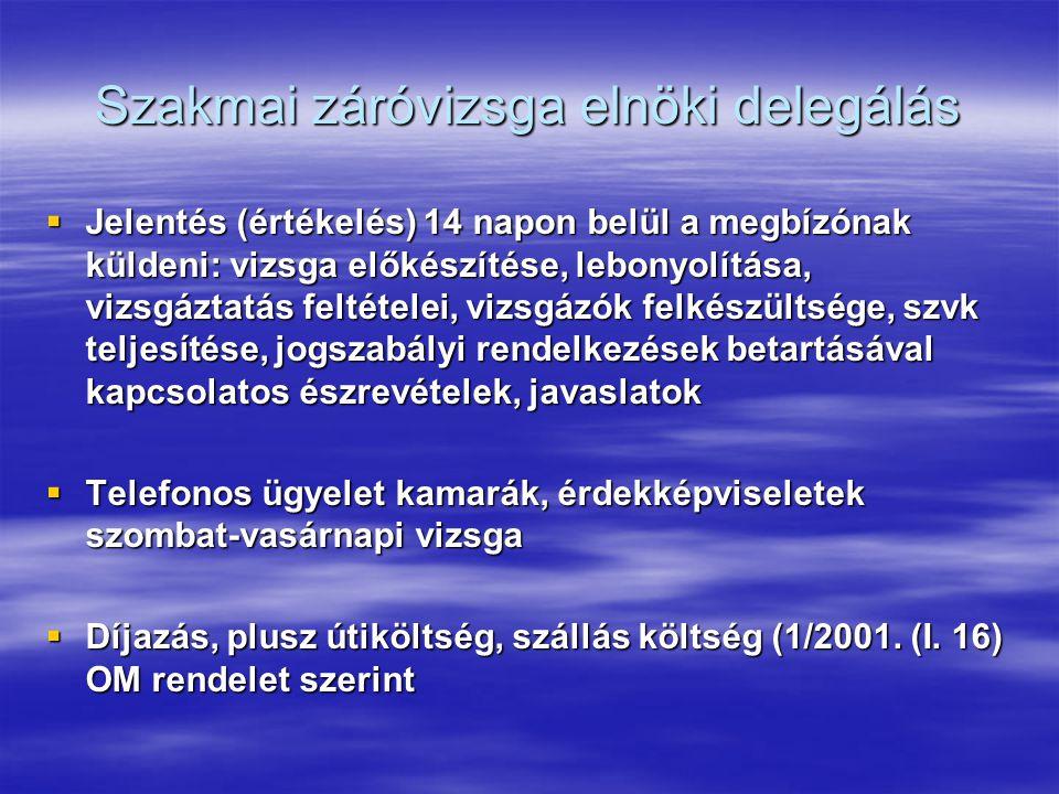 Szakmai záróvizsga elnöki delegálás  Jelentés (értékelés) 14 napon belül a megbízónak küldeni: vizsga előkészítése, lebonyolítása, vizsgáztatás feltételei, vizsgázók felkészültsége, szvk teljesítése, jogszabályi rendelkezések betartásával kapcsolatos észrevételek, javaslatok  Telefonos ügyelet kamarák, érdekképviseletek szombat-vasárnapi vizsga  Díjazás, plusz útiköltség, szállás költség (1/2001.