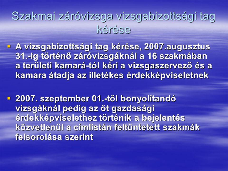 Szakmai záróvizsga vizsgabizottsági tag kérése  A vizsgabizottsági tag kérése, 2007.augusztus 31.-ig történő záróvizsgáknál a 16 szakmában a területi kamará-tól kéri a vizsgaszervező és a kamara átadja az illetékes érdekképviseletnek  2007.
