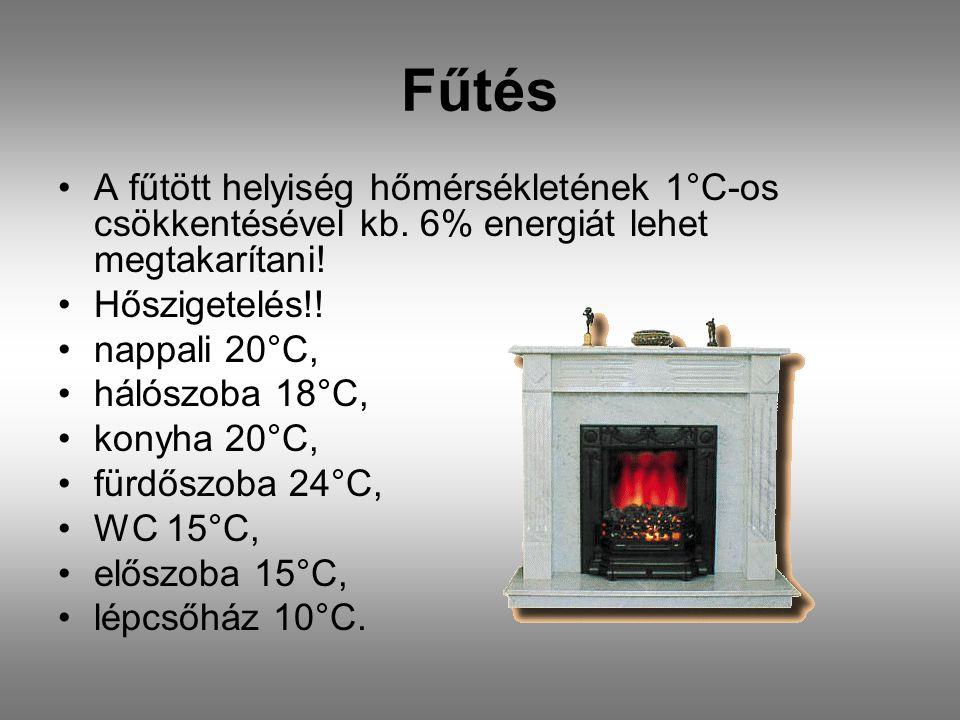 Fűtés A fűtött helyiség hőmérsékletének 1°C-os csökkentésével kb. 6% energiát lehet megtakarítani! Hőszigetelés!! nappali 20°C, hálószoba 18°C, konyha