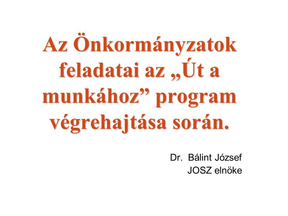 """Az Önkormányzatok feladatai az """"Út a munkához"""" program végrehajtása során. Dr. Bálint József JOSZ elnöke"""