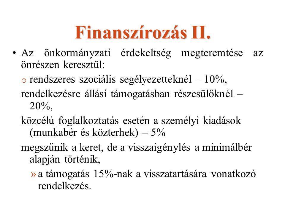 Finanszírozás II. Az önkormányzati érdekeltség megteremtése az önrészen keresztül: o rendszeres szociális segélyezetteknél – 10%, rendelkezésre állási
