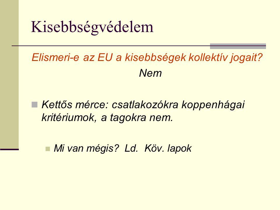 Kisebbségvédelem Elismeri-e az EU a kisebbségek kollektív jogait? Nem Kettős mérce: csatlakozókra koppenhágai kritériumok, a tagokra nem. Mi van mégis