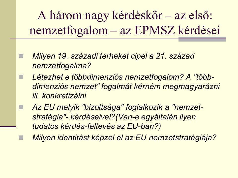 A három nagy kérdéskör – az első: nemzetfogalom – az EPMSZ kérdései Milyen 19.