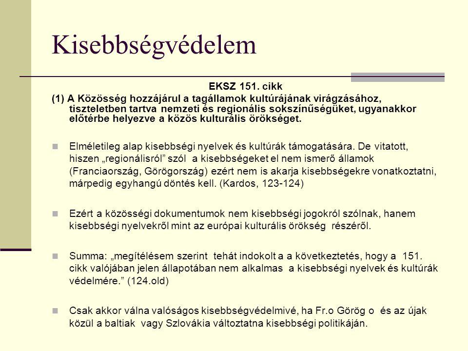 Kisebbségvédelem EKSZ 151.