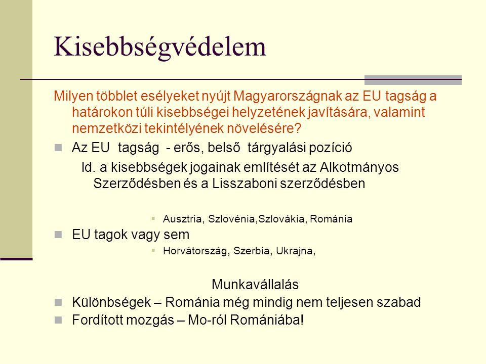 Kisebbségvédelem Milyen többlet esélyeket nyújt Magyarországnak az EU tagság a határokon túli kisebbségei helyzetének javítására, valamint nemzetközi tekintélyének növelésére.