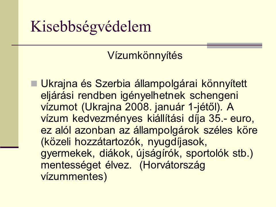Kisebbségvédelem Vízumkönnyítés Ukrajna és Szerbia állampolgárai könnyített eljárási rendben igényelhetnek schengeni vízumot (Ukrajna 2008. január 1-j