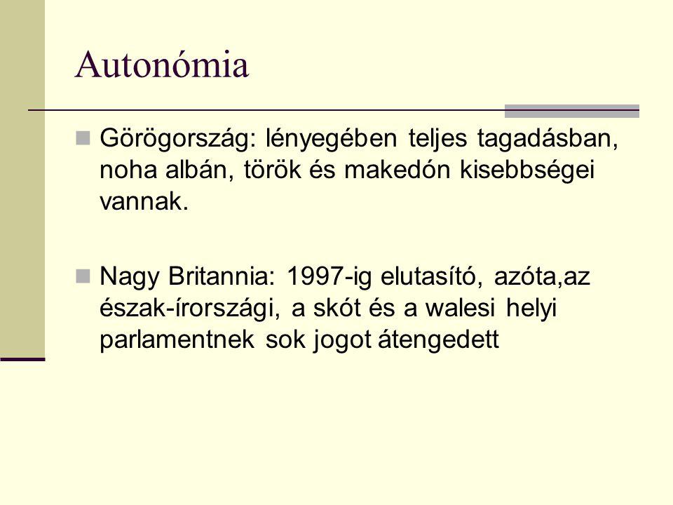 Autonómia Görögország: lényegében teljes tagadásban, noha albán, török és makedón kisebbségei vannak. Nagy Britannia: 1997-ig elutasító, azóta,az észa