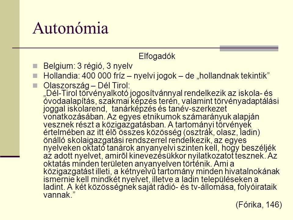 """Autonómia Elfogadók Belgium: 3 régió, 3 nyelv Hollandia: 400 000 fríz – nyelvi jogok – de """"hollandnak tekintik"""" Olaszország – Dél Tirol: """"Dél-Tirol tö"""