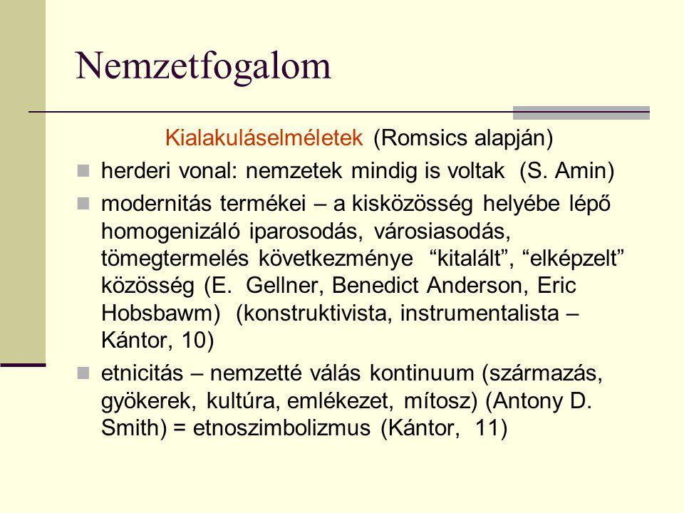 Nemzetfogalom Kialakuláselméletek (Romsics alapján) herderi vonal: nemzetek mindig is voltak (S. Amin) modernitás termékei – a kisközösség helyébe lép