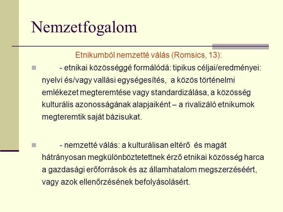 Nemzetfogalom Etnikumból nemzetté válás (Romsics, 13): - etnikai közösséggé formálódá: tipikus céljai/eredményei: nyelvi és/vagy vallási egységesítés, a közös történelmi emlékezet megteremtése vagy standardizálása, a közösség kulturális azonosságának alapjaiként – a rivalizáló etnikumok megteremtik saját bázisukat.
