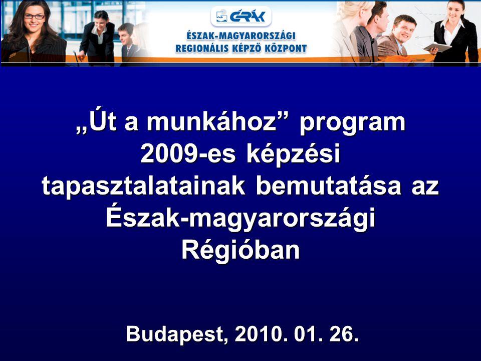 """""""Út a munkához program 2009-es képzési tapasztalatainak bemutatása az Észak-magyarországi Régióban """"Út a munkához program 2009-es képzési tapasztalatainak bemutatása az Észak-magyarországi Régióban Budapest, 2010."""