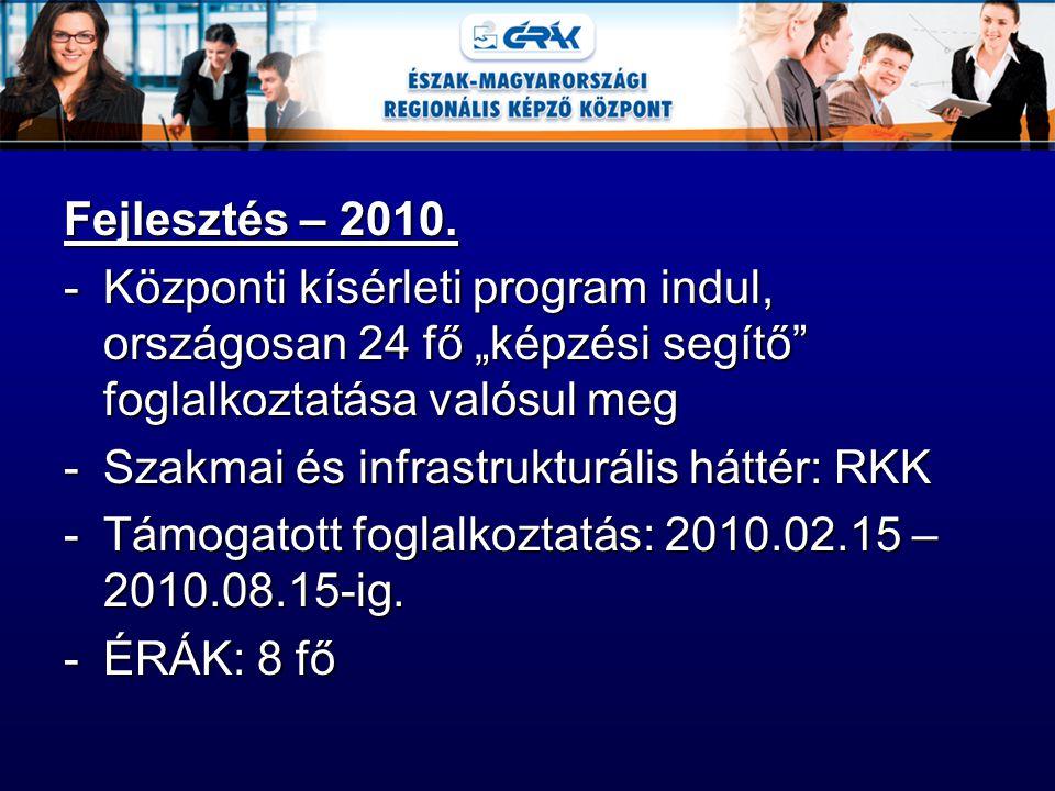 """Fejlesztés – 2010. -Központi kísérleti program indul, országosan 24 fő """"képzési segítő"""" foglalkoztatása valósul meg -Szakmai és infrastrukturális hátt"""