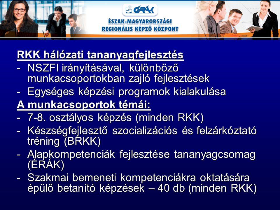 RKK hálózati tananyagfejlesztés -NSZFI irányításával, különböző munkacsoportokban zajló fejlesztések -Egységes képzési programok kialakulása A munkacs