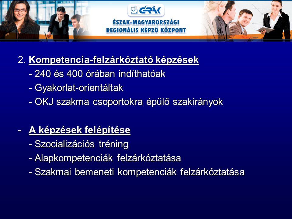 Kompetencia-felzárkóztató képzések 2. Kompetencia-felzárkóztató képzések - 240 és 400 órában indíthatóak - Gyakorlat-orientáltak - OKJ szakma csoporto