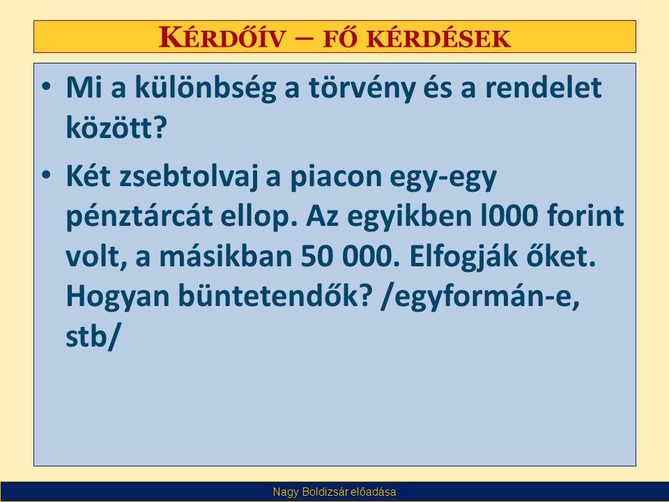 Nagy Boldizsár előadása K ÉRDŐÍV – FŐ KÉRDÉSEK Valaki /pl.