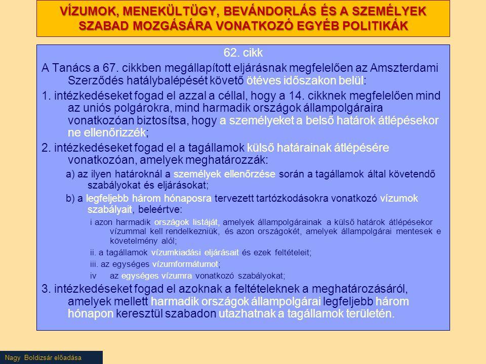 VÍZUMOK, MENEKÜLTÜGY, BEVÁNDORLÁS ÉS A SZEMÉLYEK SZABAD MOZGÁSÁRA VONATKOZÓ EGYÉB POLITIKÁK 62. cikk A Tanács a 67. cikkben megállapított eljárásnak m