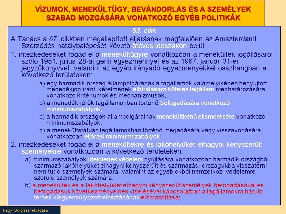 Nagy Boldizsár előadása VÍZUMOK, MENEKÜLTÜGY, BEVÁNDORLÁS ÉS A SZEMÉLYEK SZABAD MOZGÁSÁRA VONATKOZÓ EGYÉB POLITIKÁK 63. cikk A Tanács a 67. cikkben me