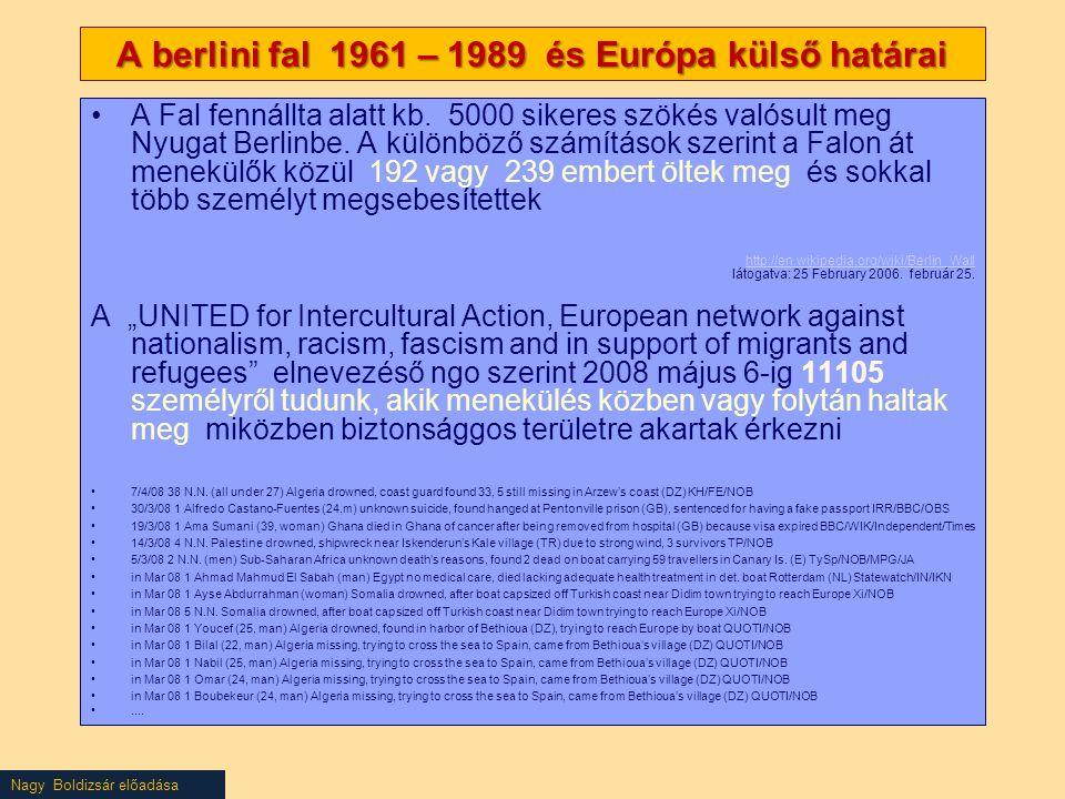 Nagy Boldizsár előadása A berlini fal 1961 – 1989 és Európa külső határai A Fal fennállta alatt kb. 5000 sikeres szökés valósult meg Nyugat Berlinbe.