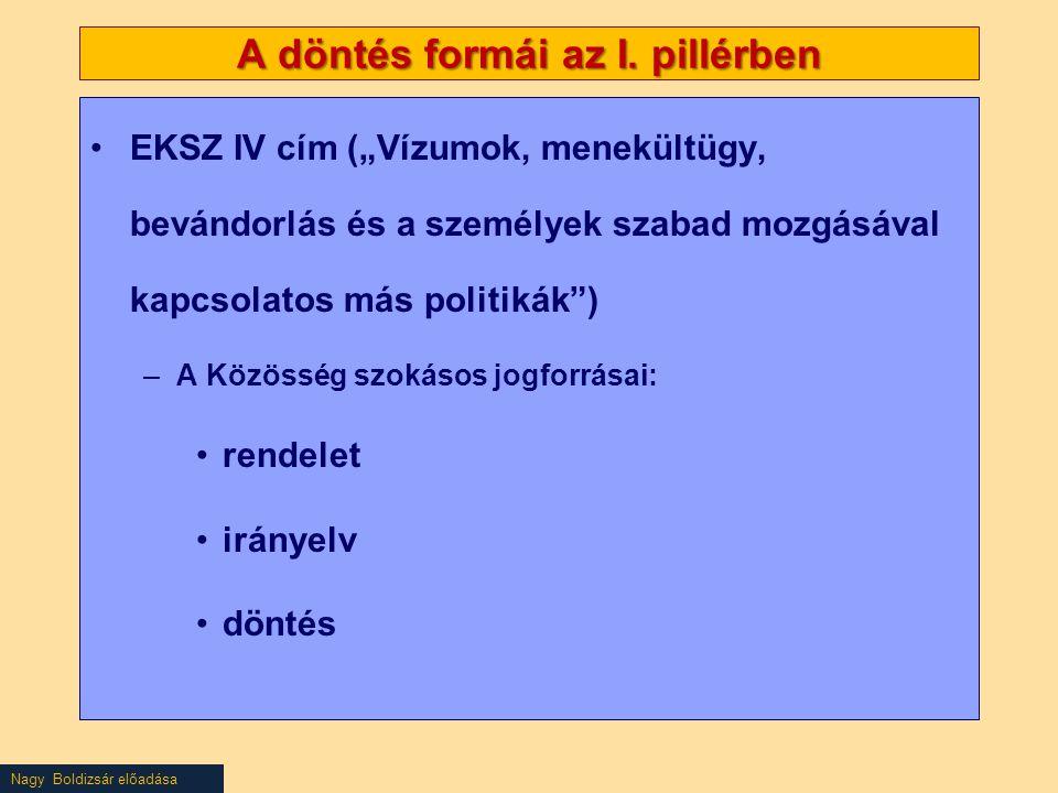 """Nagy Boldizsár előadása A döntés formái az I. pillérben EKSZ IV cím (""""Vízumok, menekültügy, bevándorlás és a személyek szabad mozgásával kapcsolatos m"""