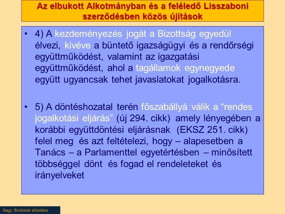 Nagy Boldizsár előadása Az elbukott Alkotmányban és a feléledő Lisszaboni szerződésben közös újítások 4) A kezdeményezés jogát a Bizottság egyedül élv