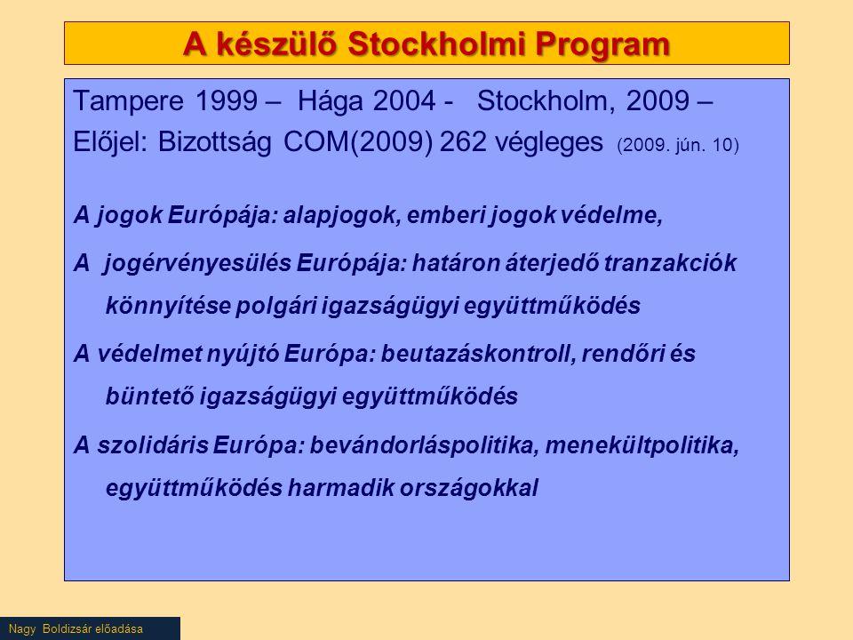Nagy Boldizsár előadása A készülő Stockholmi Program Tampere 1999 – Hága 2004 - Stockholm, 2009 – Előjel: Bizottság COM(2009) 262 végleges (2009. jún.