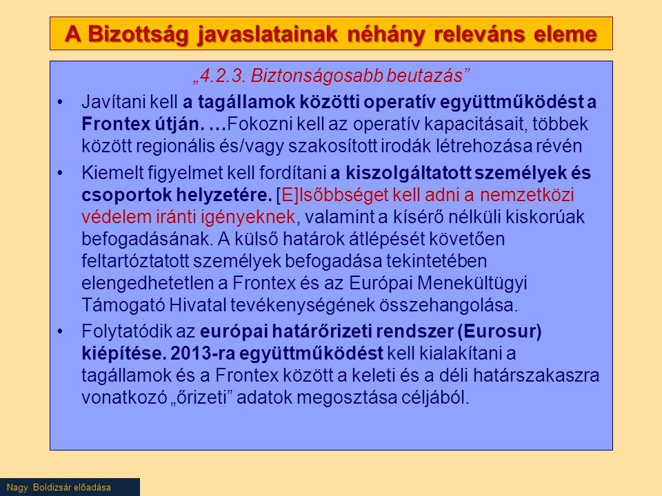 """Nagy Boldizsár előadása A Bizottság javaslatainak néhány releváns eleme """"4.2.3. Biztonságosabb beutazás"""" Javítani kell a tagállamok közötti operatív e"""