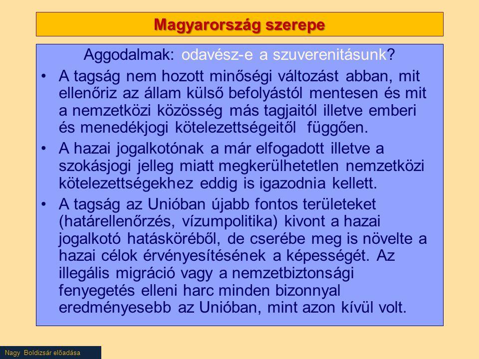 Nagy Boldizsár előadása Magyarország szerepe Aggodalmak: odavész-e a szuverenitásunk? A tagság nem hozott minőségi változást abban, mit ellenőriz az á