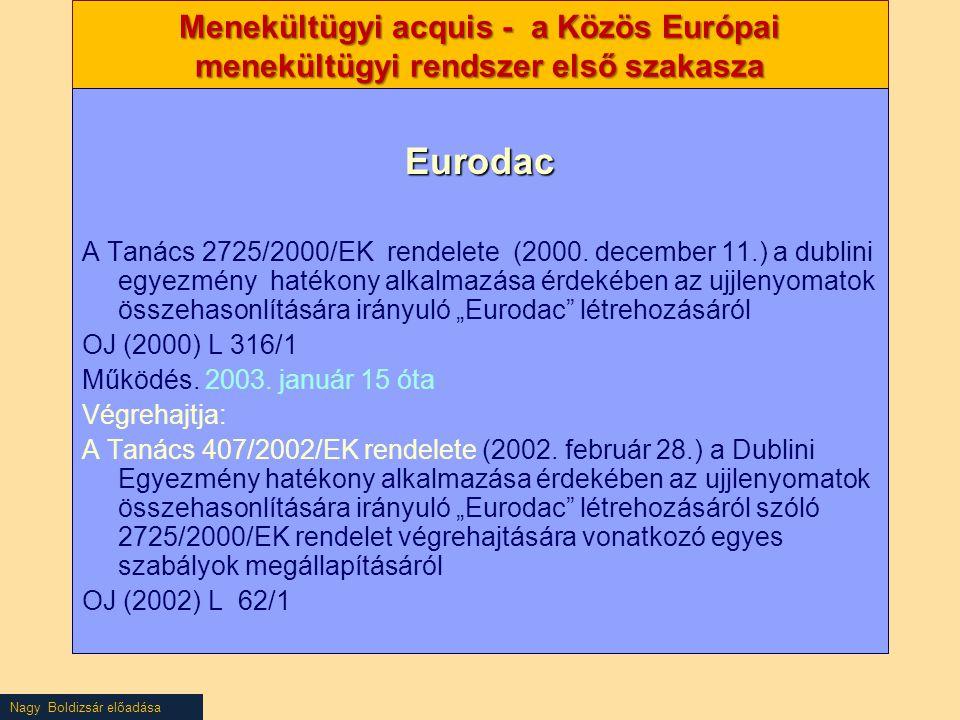 Nagy Boldizsár előadása Menekültügyi acquis - a Közös Európai menekültügyi rendszer első szakasza Eurodac A Tanács 2725/2000/EK rendelete (2000. decem