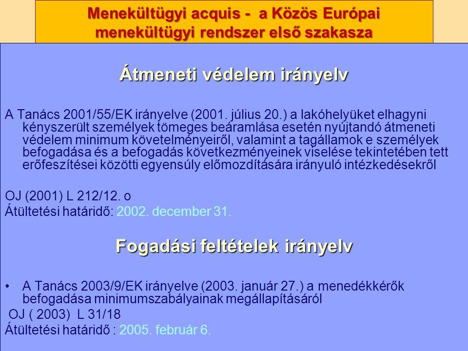 Nagy Boldizsár előadása Menekültügyi acquis - a Közös Európai menekültügyi rendszer első szakasza Átmeneti védelem irányelv A Tanács 2001/55/EK iránye