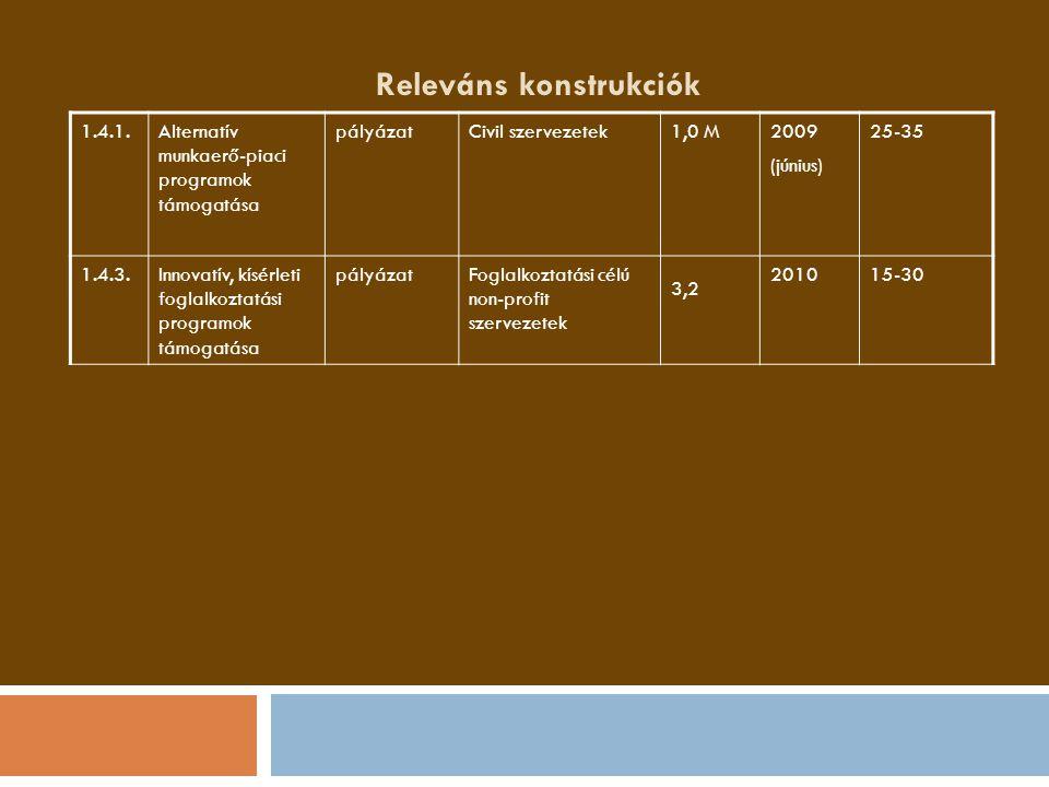 Releváns konstrukciók 1.4.1.Alternatív munkaerő-piaci programok támogatása pályázatCivil szervezetek1,0 M2009 (június) 25-35 1.4.3.Innovatív, kísérlet