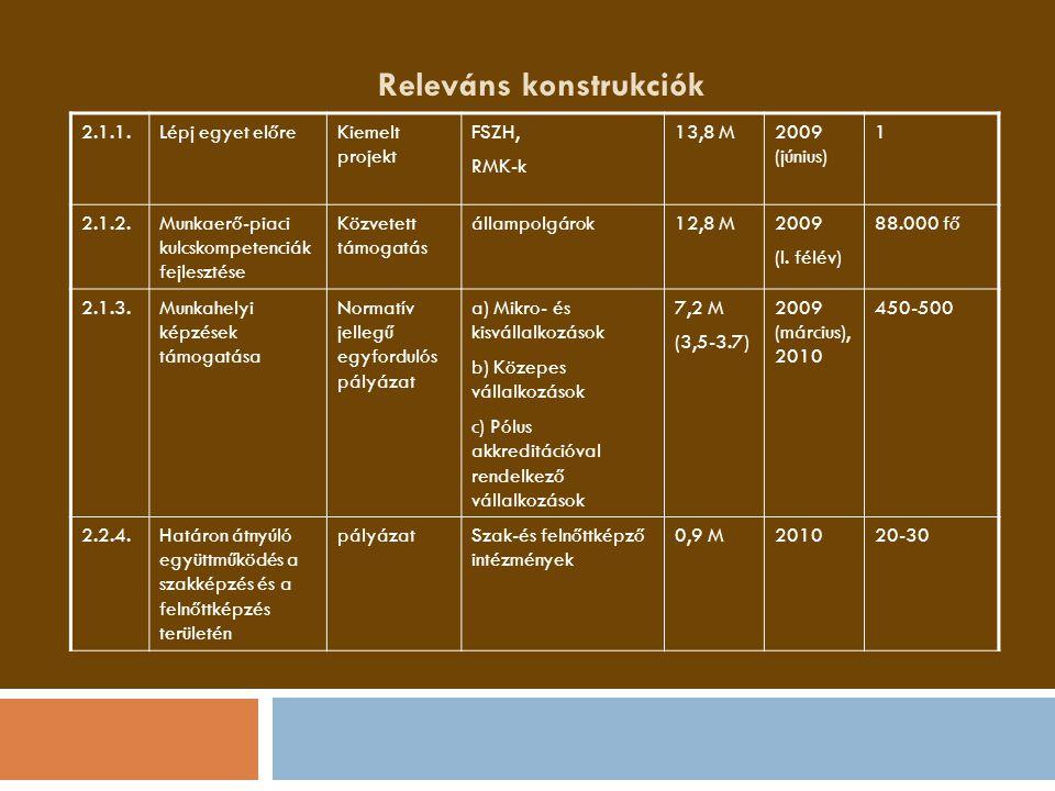 Releváns konstrukciók 2.1.1.Lépj egyet előreKiemelt projekt FSZH, RMK-k 13,8 M2009 (június) 1 2.1.2.Munkaerő-piaci kulcskompetenciák fejlesztése Közve