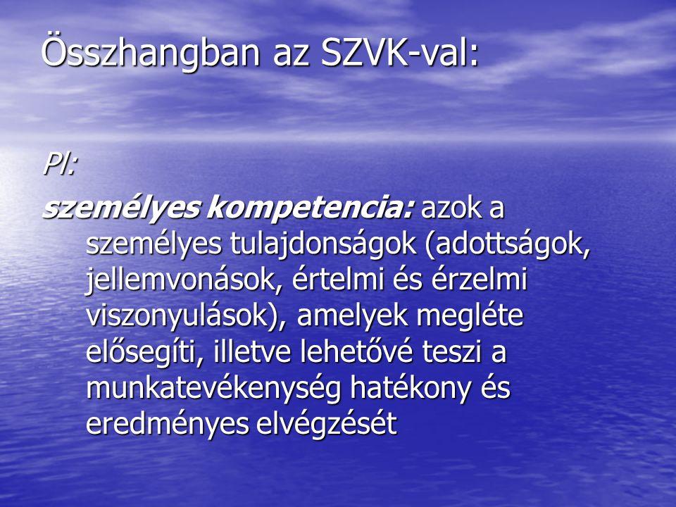 Összhangban az SZVK-val: Pl: személyes kompetencia: azok a személyes tulajdonságok (adottságok, jellemvonások, értelmi és érzelmi viszonyulások), amel