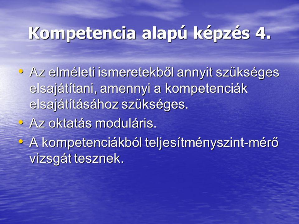 Kompetencia alapú képzés 4. Az elméleti ismeretekből annyit szükséges elsajátítani, amennyi a kompetenciák elsajátításához szükséges. Az elméleti isme