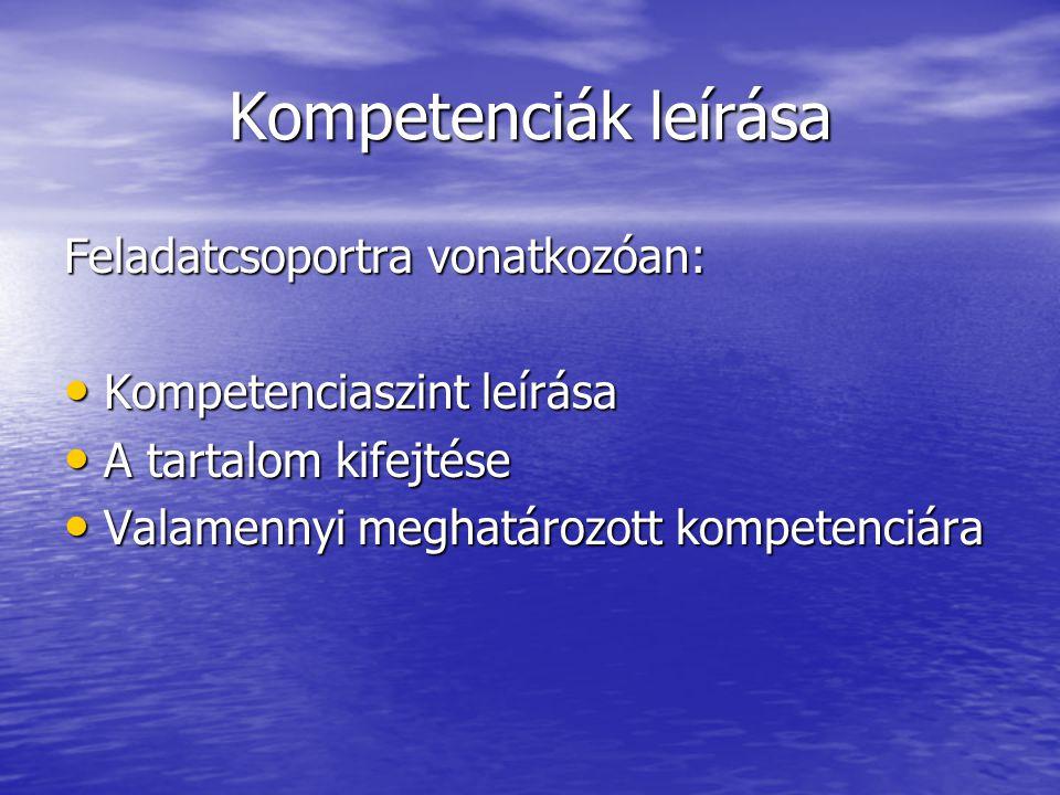 Kompetenciák leírása Feladatcsoportra vonatkozóan: Kompetenciaszint leírása Kompetenciaszint leírása A tartalom kifejtése A tartalom kifejtése Valamen
