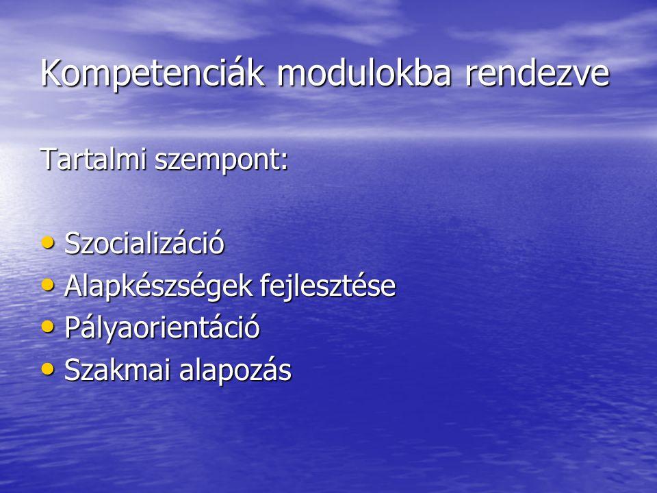 Kompetenciák modulokba rendezve Tartalmi szempont: Szocializáció Szocializáció Alapkészségek fejlesztése Alapkészségek fejlesztése Pályaorientáció Pál