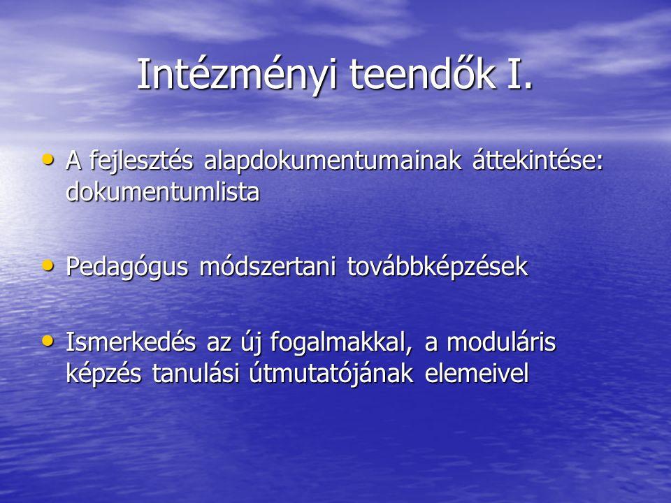 Intézményi teendők I. A fejlesztés alapdokumentumainak áttekintése: dokumentumlista A fejlesztés alapdokumentumainak áttekintése: dokumentumlista Peda