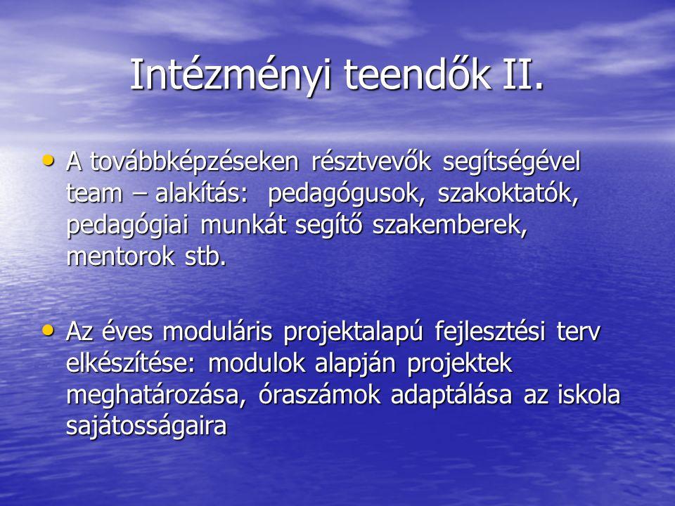 Intézményi teendők II. A továbbképzéseken résztvevők segítségével team – alakítás: pedagógusok, szakoktatók, pedagógiai munkát segítő szakemberek, men