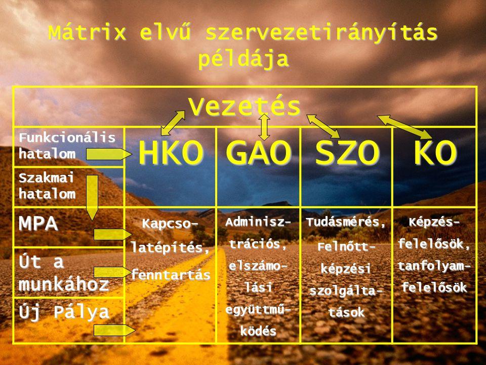 Mátrix elvű szervezetirányítás példája Vezetés Funkcionális hatalom HKOGAOSZOKO Szakmai hatalom MPA Kapcso- latépítés, fenntartás Adminisz- trációs, e
