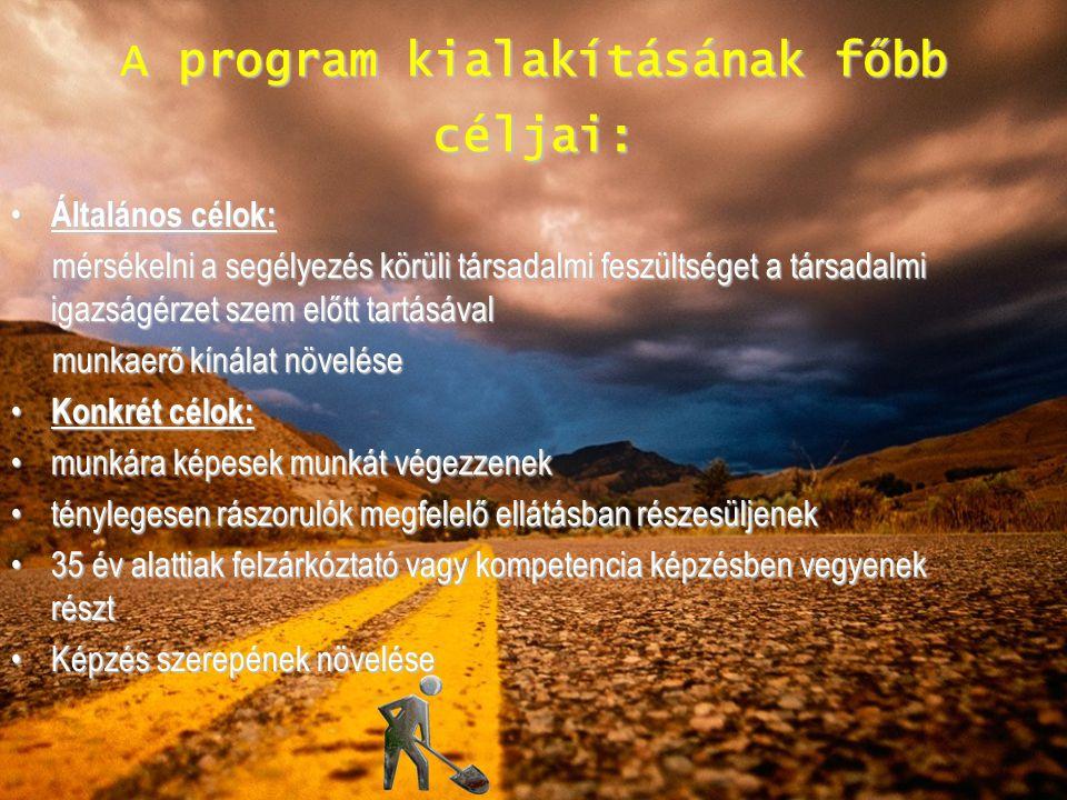 A program kialakításának főbb céljai: Általános célok: Általános célok: mérsékelni a segélyezés körüli társadalmi feszültséget a társadalmi igazságérz