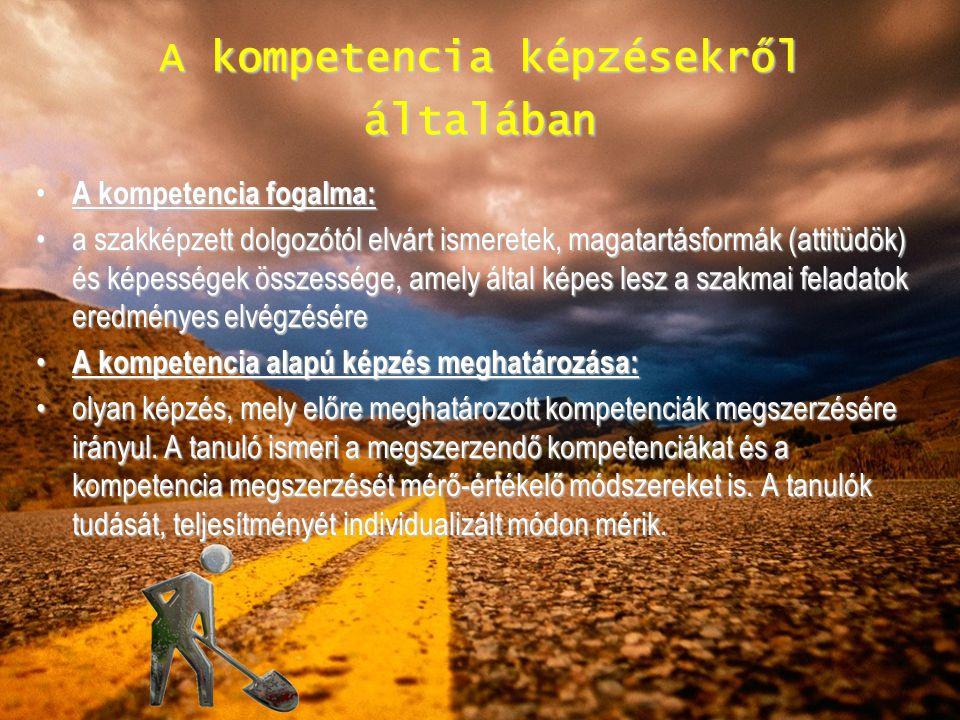 A kompetencia képzésekről általában A kompetencia fogalma: A kompetencia fogalma: a szakképzett dolgozótól elvárt ismeretek, magatartásformák (attitüd