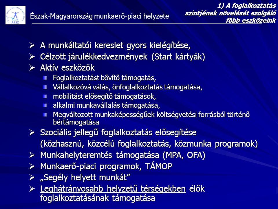 Észak-Magyarország munkaerő-piaci helyzete 1) A foglalkoztatás szintjének növelését szolgáló főbb eszközeink  A munkáltatói kereslet gyors kielégítés