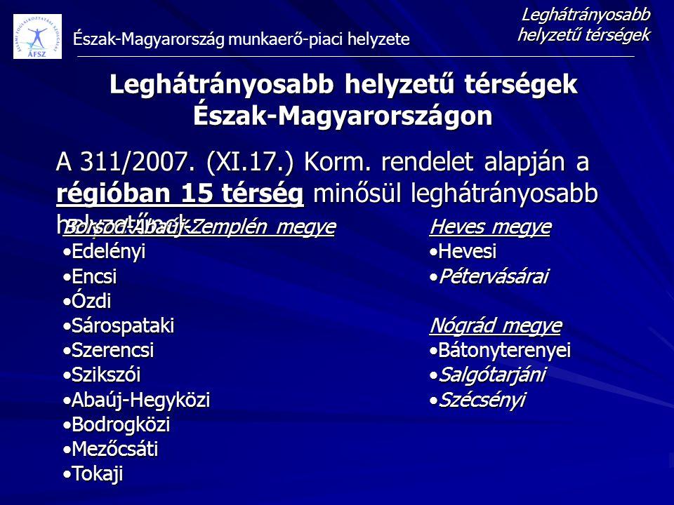 Észak-Magyarország munkaerő-piaci helyzete A 311/2007. (XI.17.) Korm. rendelet alapján a régióban 15 térség minősül leghátrányosabb helyzetűnek: Leghá