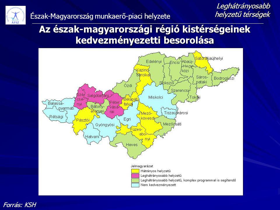 Észak-Magyarország munkaerő-piaci helyzete Az észak-magyarországi régió kistérségeinek kedvezményezetti besorolása Forrás: KSH Leghátrányosabb helyzet