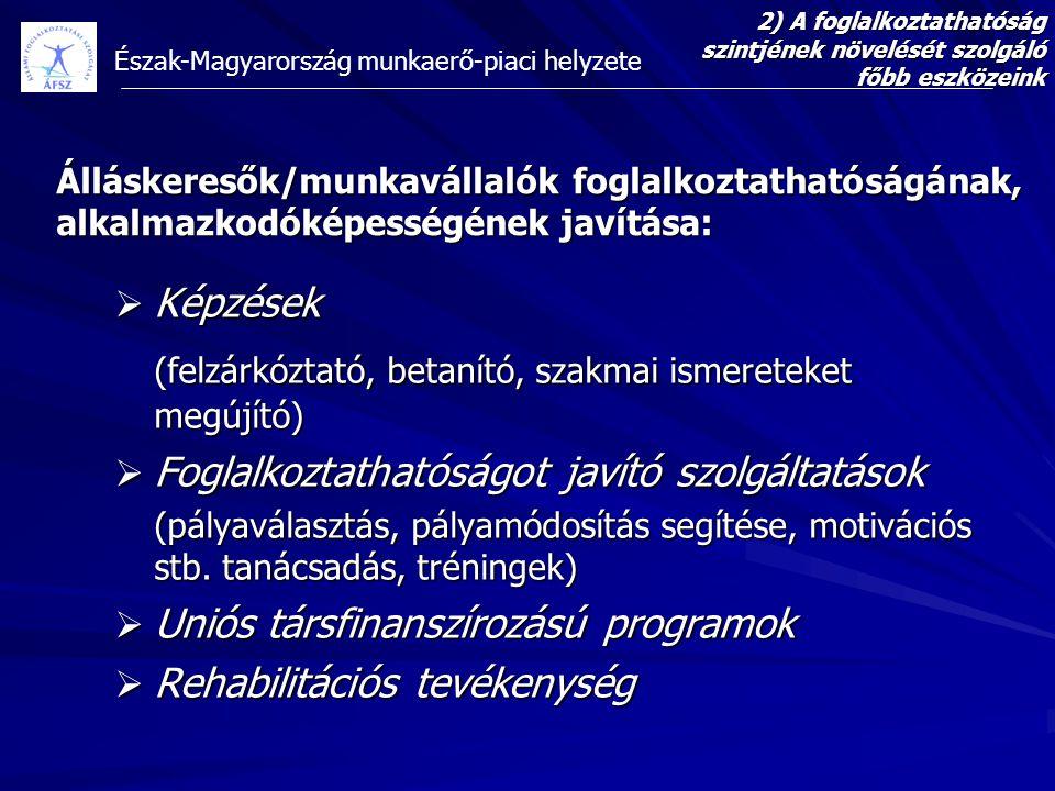 Észak-Magyarország munkaerő-piaci helyzete Álláskeresők/munkavállalók foglalkoztathatóságának, alkalmazkodóképességének javítása:  Képzések (felzárkó