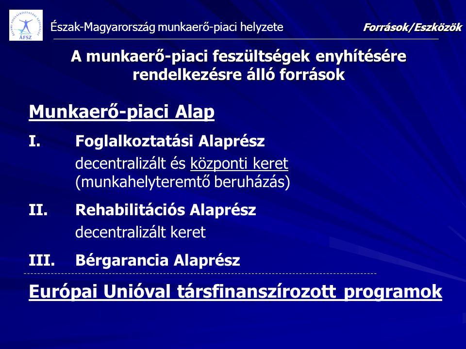 Észak-Magyarország munkaerő-piaci helyzete A munkaerő-piaci feszültségek enyhítésére rendelkezésre álló források Munkaerő-piaci Alap I.Foglalkoztatási